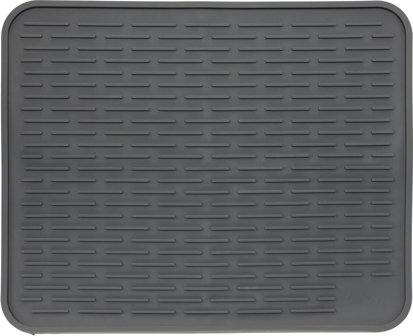 XXL Super Size Silicone Dish Drying Mat 24'' x 18'' - Large Drainer Mat and Trivet by LISH(Slate Grey)