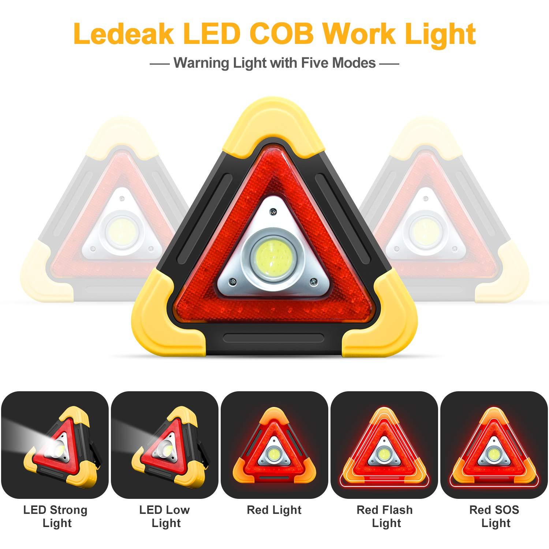 Leggero Impermeabile Luce Davvertimento di Traffico Emergenza Proiettore per Camping Torcia Portatile COB Super Luminosa Escursionismo Ledeak 2 PackTriangolo LED Lavoro Lampada Riparazione Auto