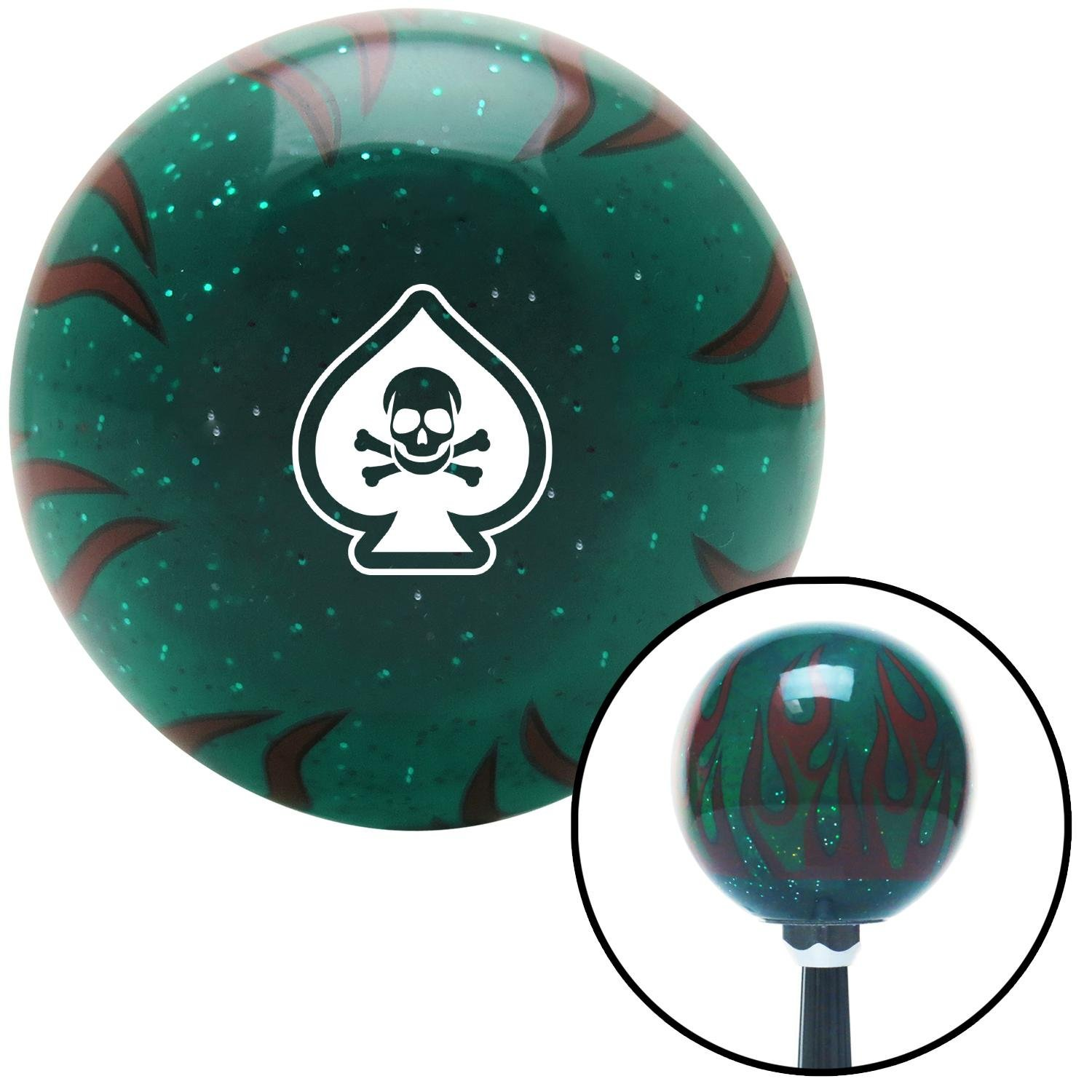 American Shifter 300827 Shift Knob White Spade Skull Green Flame Metal Flake with M16 x 1.5 Insert
