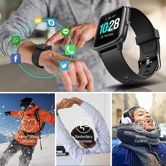 Bracelet Connect/é Smartwatch pour Android iOS TZL Montre Connect/ée Homme Femme Enfant Moniteur de Fr/équence Cardiaque Montre Sport Etanche avec Alertes de Message Appel Contr/ôle de Musique