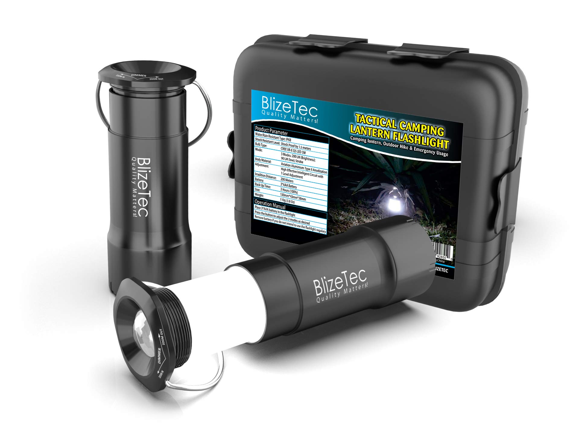 BlizeTec Camping Tactical Lantern Flashlight: Emergency Survival Creed LED Powered by 200 Lumen Output; Rainproof, Shockproof with 3 Adjustable Modes; Gift Case and Survival Hand Book Included by BlizeTec