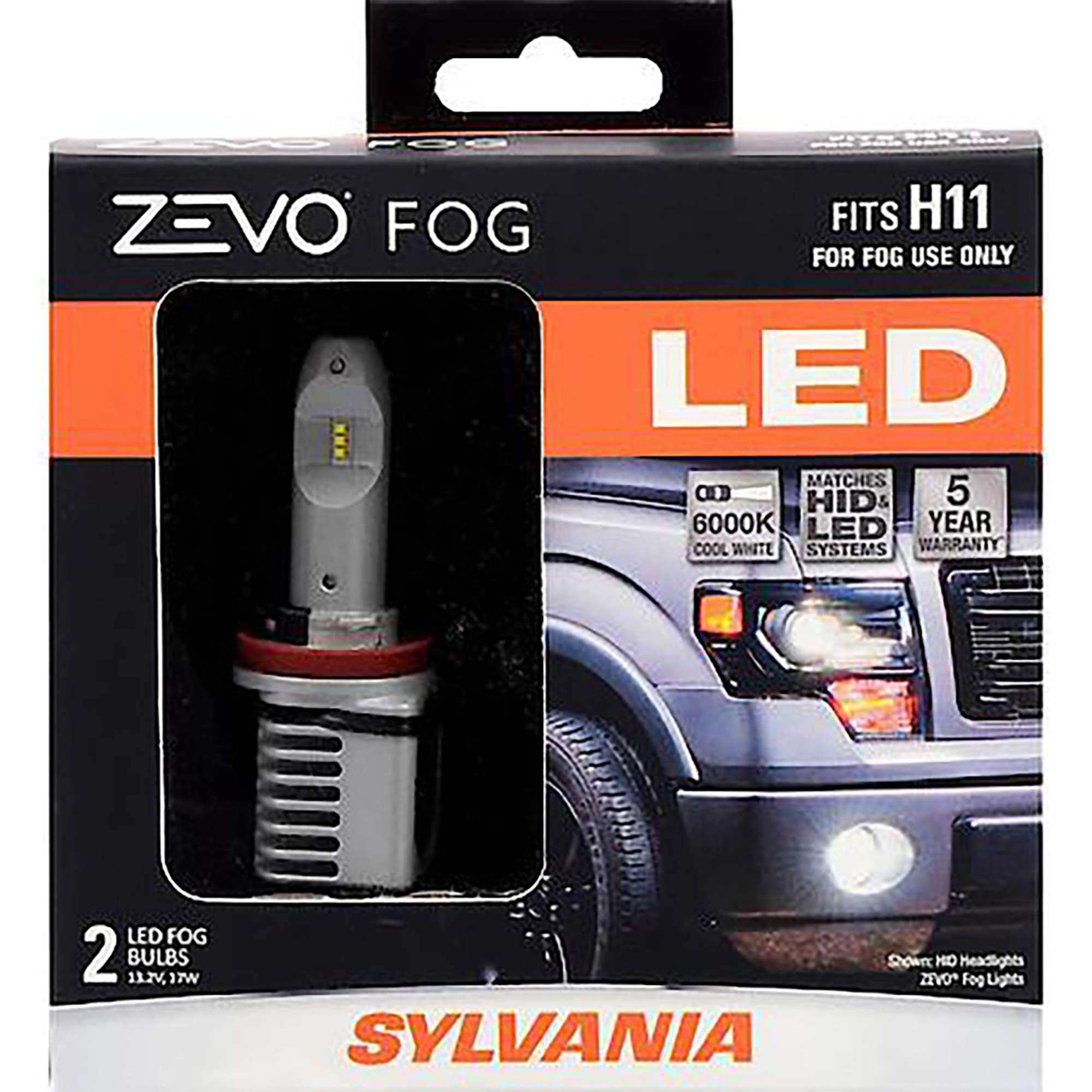 SYLVANIA - H11 ZEVO FOG LED - Premium Quality Plug and Play LED Fog Lights, Bright White Light Output, Matches HID & LED Headlight Lighting Systems, Added Style & Performance (Contains 2 Bulbs) by SYLVANIA
