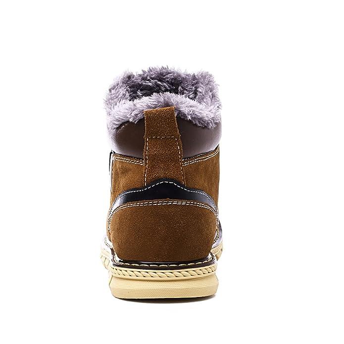 LILY999 Stivali da Neve Scarpe Stivaletti Uomo Pelle Inverno Stringate  Basse Snow Boots d9b8ce85103