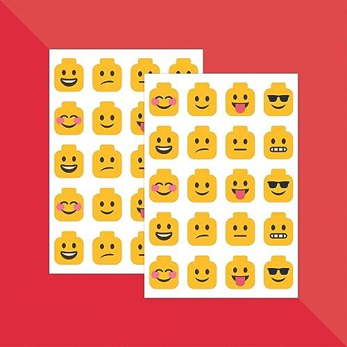 Building Block Head Emojis X 40 Teacher Stickers