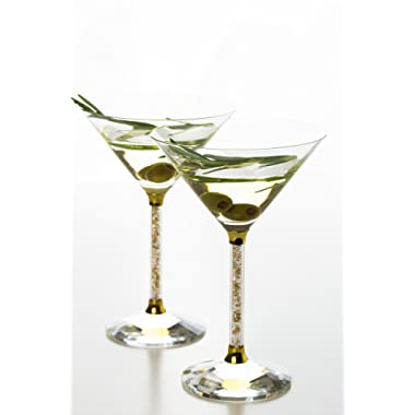 Martini Glasses- Crystal Stemmed Glassware Set (Gold)