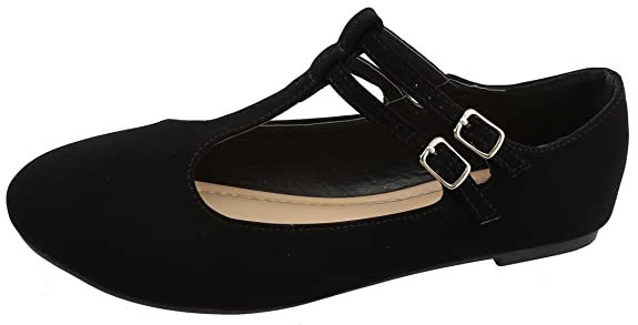 1930s Style Shoes – Art Deco Shoes Top Moda Womens Closed Round Toe Mary Jane Buckle Double T-Strap Ballet Flat $26.99 AT vintagedancer.com