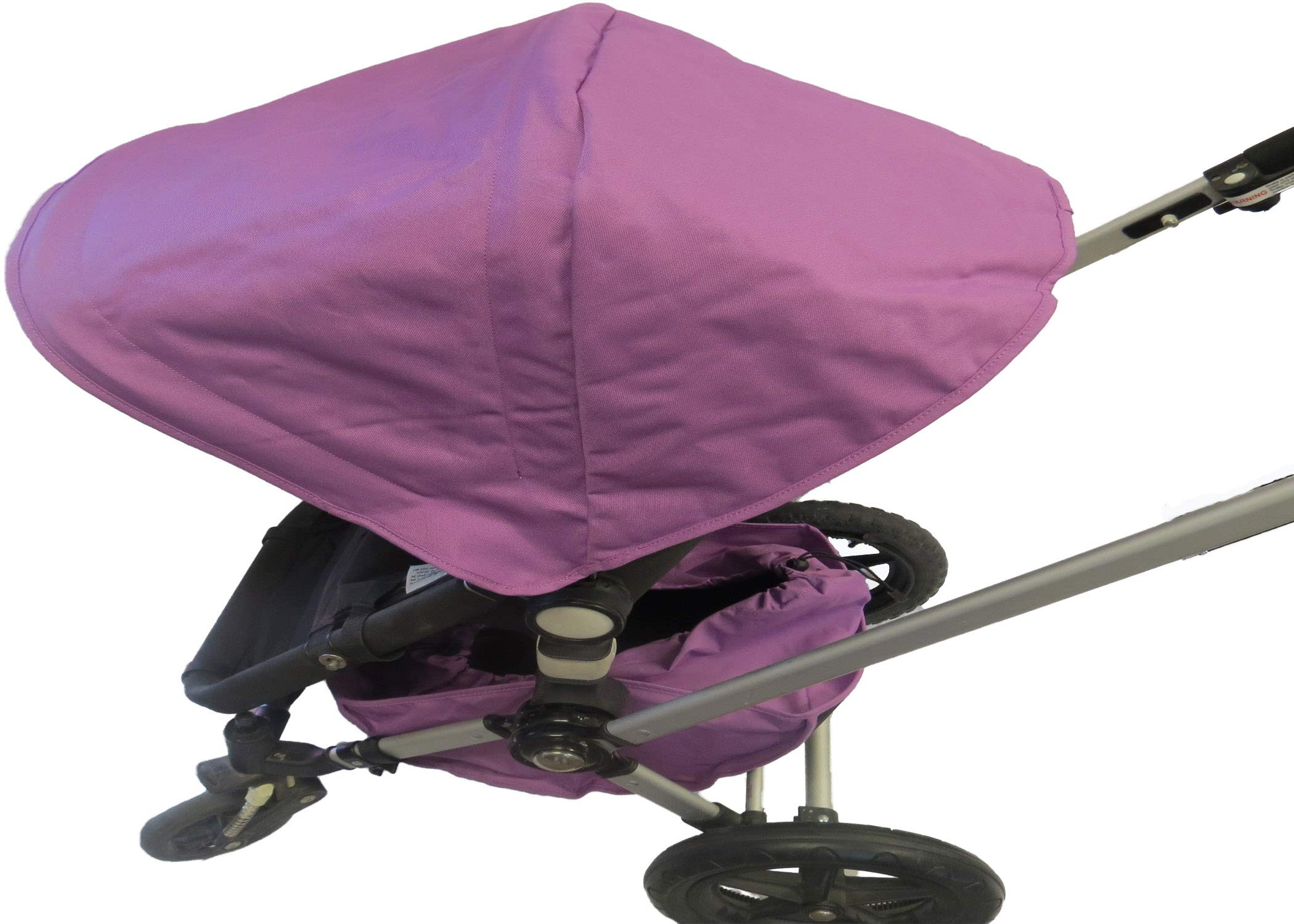 Purple Sun Shade Canopy and Large Under Seat Storage Basket Plus Free Handle Bar Covers for Bugaboo Cameleon 1, 2, 3, Frog Baby Child Strollers
