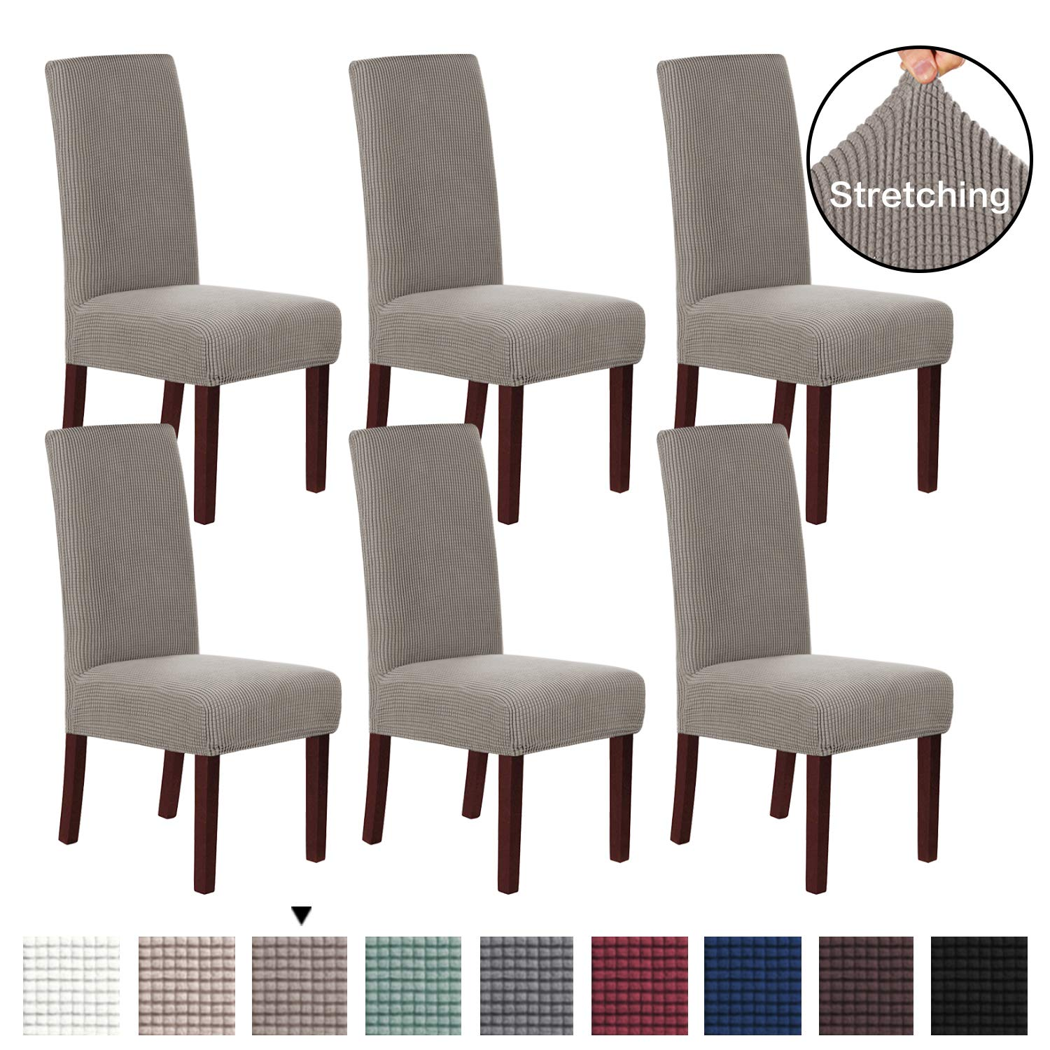 H.VERSAILTEX Stretch Removable Washable Chair Covers Solid Stretch Dining Room Chair Protector Home Decor Slip Resistant Spandex Dining Chair Protector Cover for Dining Room Set of 6, Taupe