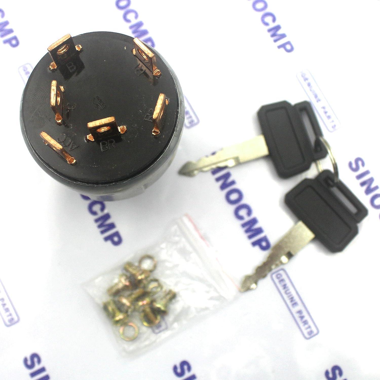2549 1153b 25491153b Ignition Switch Sinocmp Excavator Relay Fuel Pump Kuda 6 Lines 2 Keys For Daewoo Doosan Sl220lc Parts