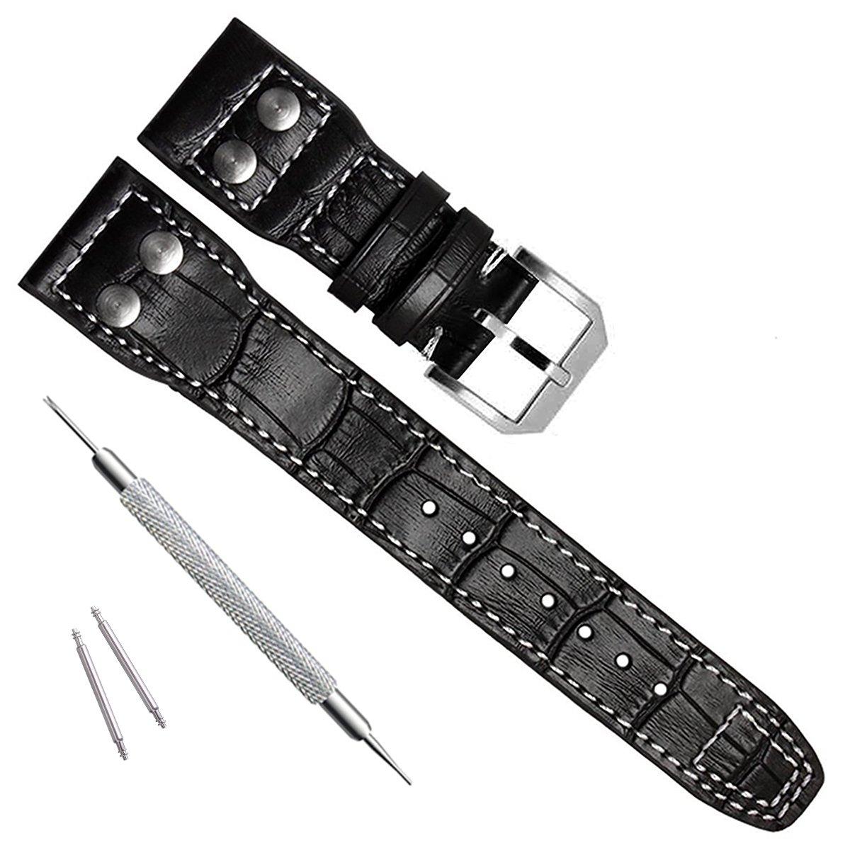 22 mm本革時計ストラップバンドフィットfor IWCパイロットのWatchs LE Black/Buckle Black/Buckle B01GKP8QQI