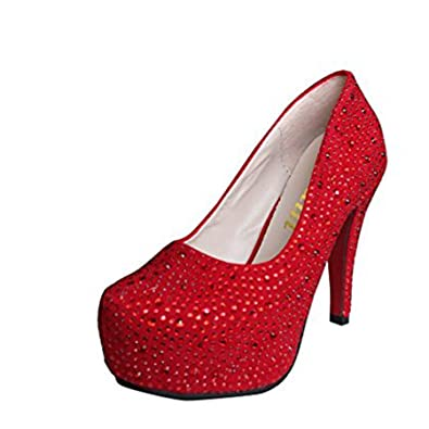 3872fcce5d7 Gaorui Women Glitter Rhinestones Studded Pumps Platform Wedge high Heel  Shoes Silver Red