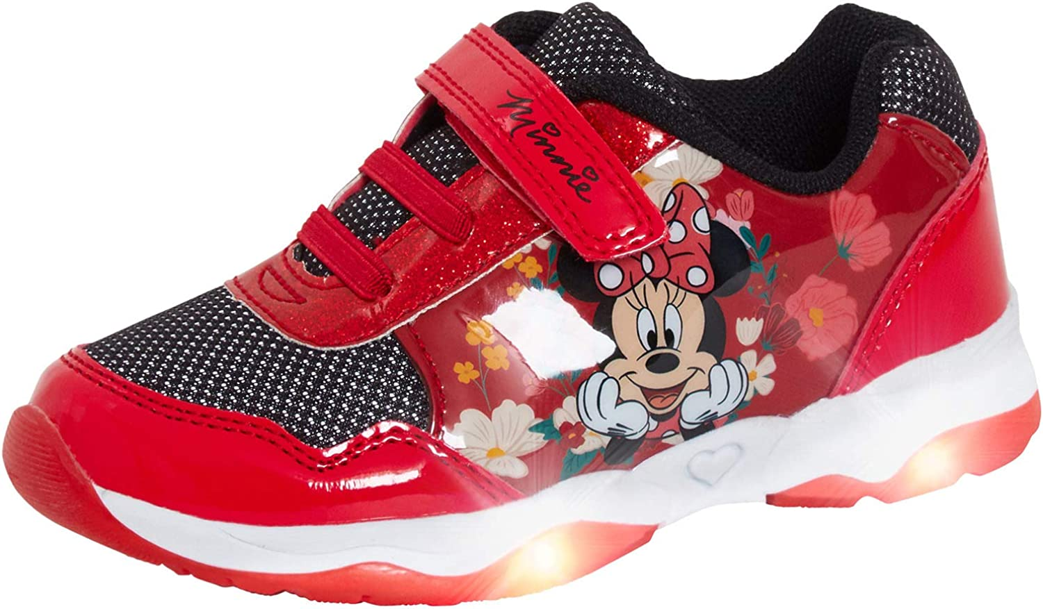 Girls Disney Minnie Mouse Light Up Trainers Kids Easy Touch Fasten Sports Shoes