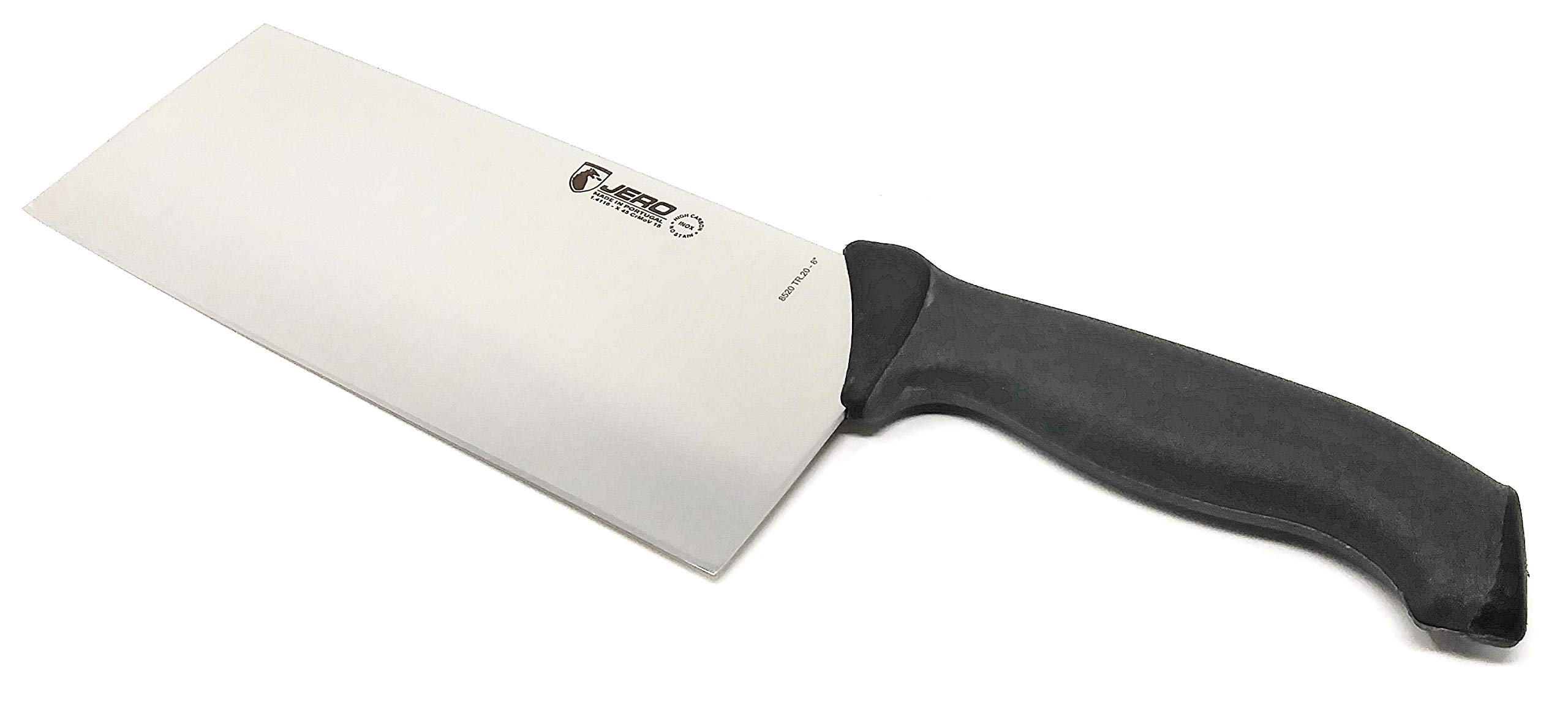 Jero TR Traction Grip Chinese Cleaver - 8'' Blade - Lightweight Model - High Carbon German Stainless Steel - Commercial Grade - Dual Injection Molded Handle - Retail Boxed - Made in Portugal by Jero
