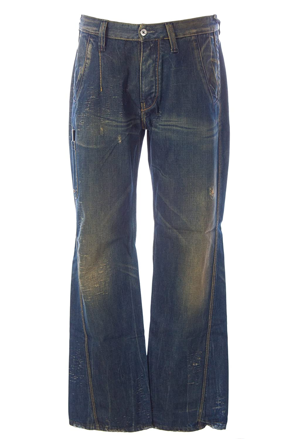 Blue Blood Men's Don Distressed Denim Button Fly Jeans
