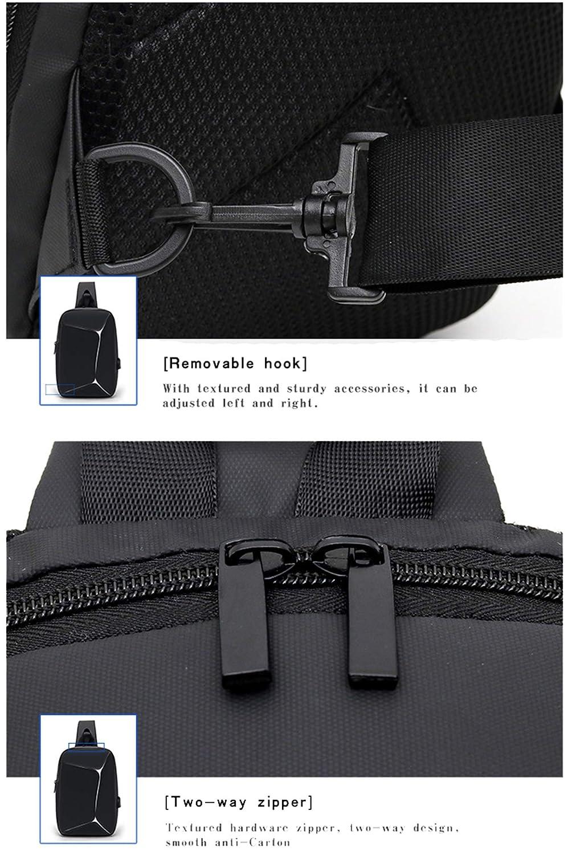 Azul Bolso Bandolera Mochila con Puerto de Carga USB para Bolsa de Mensajero Casual para Hombres y Mujeres Bolsa de Lona Mochila de Viaje de Senderismo para Deportes al Aire Libre Tira Reflectante
