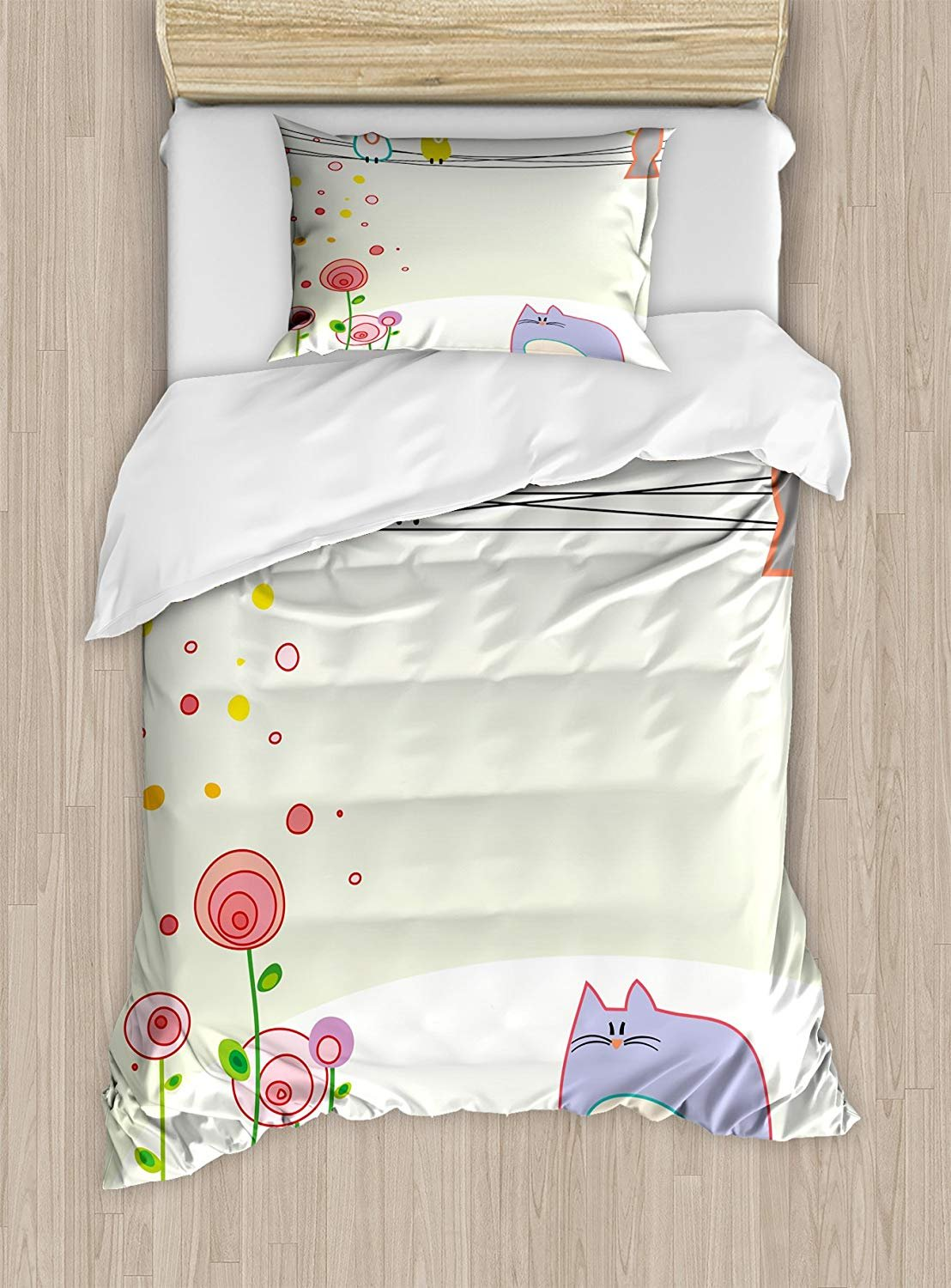 Twin XL Extra Long Bedding Set,Toddler Duvet Cover Set,Cute Childrens Drawing Style Bird and Cat Figures with Flourishing Spring Flowers,Cosy House Collection 4 Piece Bedding Setss