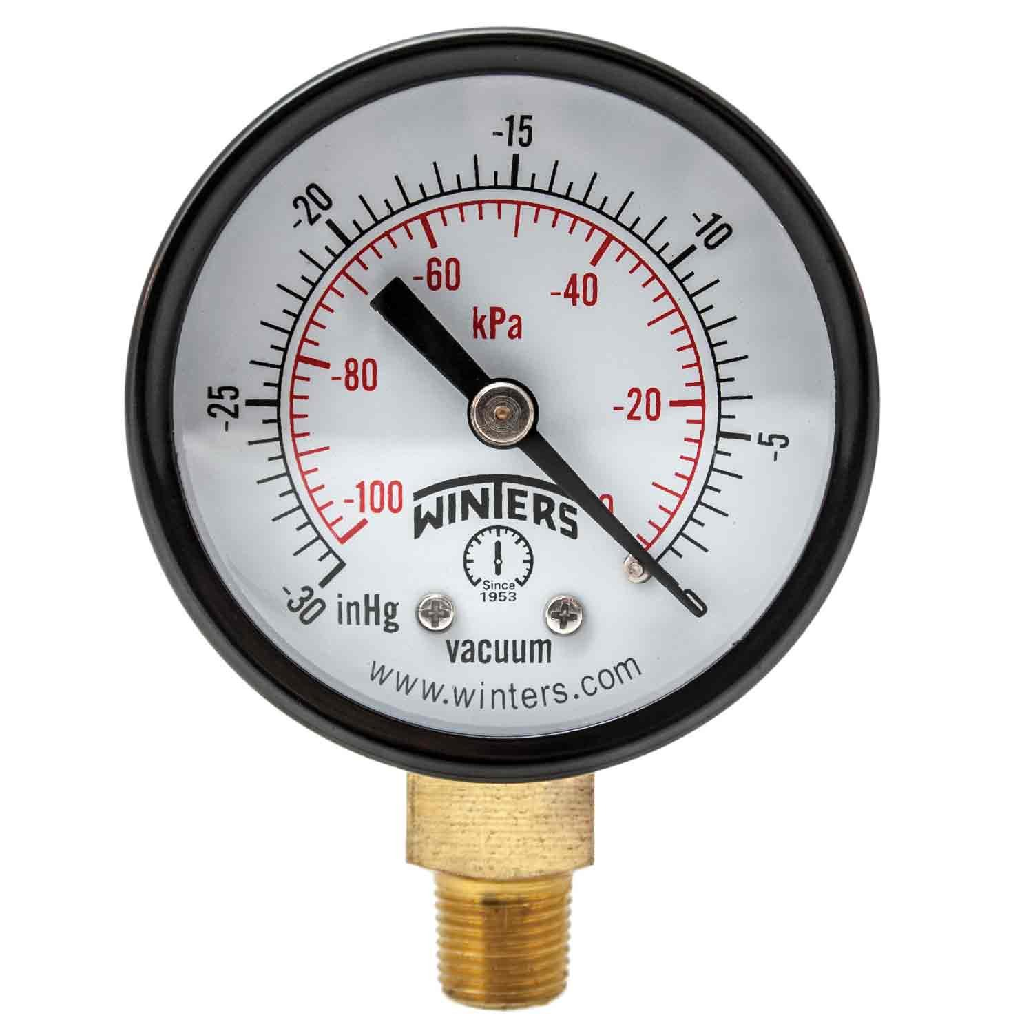 "Winters PEM Series Steel Dual Scale Economical All Purpose Pressure Gauge with Brass Internals, 30""Hg Vacuum/kpa, 2"" Dial Display, +/-3-2-3% Accuracy, 1/8"" NPT Bottom Mount"