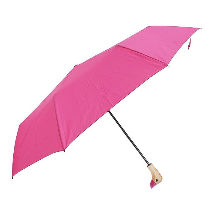Susino - Paraguas plegable con mango en forma de pato (Talla Única/Rosa)