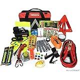 Blikzone Premium Auto Roadside Assistance Emergency Car Kit with 81 Essentials Pc: Portable Air Compressor, Jumper Cables, Tire Repair Kit, Tow Strap, LED Flash Light, Safety Vest & More (Classic Bag)