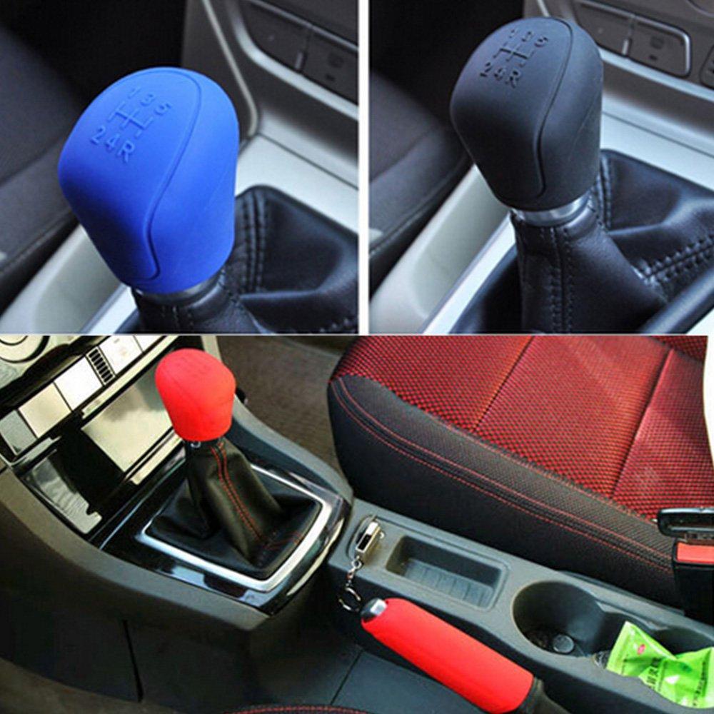 iTimo para palanca de cambios y frenos para coches y coches azul Cubiertas de silicona para freno de mano de coche