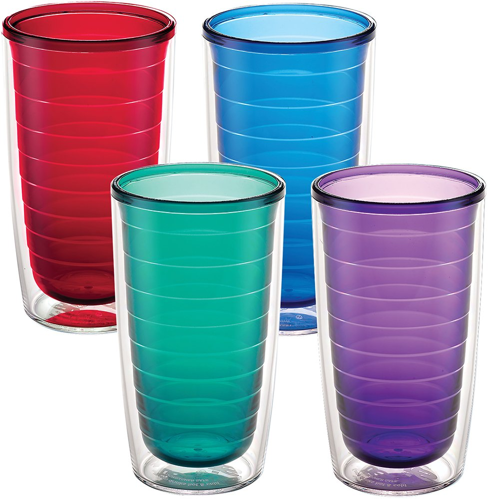 Tervis 1037267 Clear & Colorful Insulated Tumbler 4 Pack - Boxed 16oz, Assorted