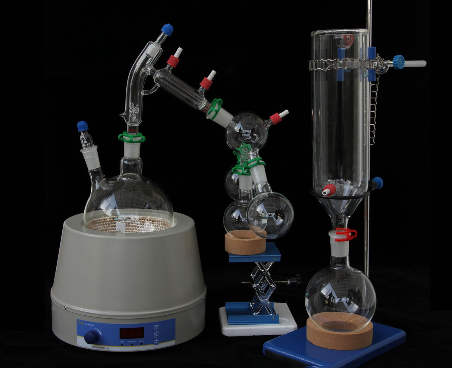 Short Path Distillation Kit with Cold Trap and Magnetic Heating Mantle 2000ml