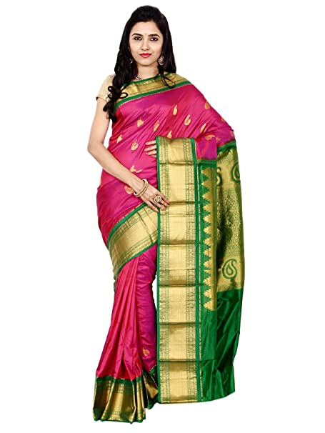 Indian Silks Mango Design Women's Kanchipuram Handloom Pure Silk