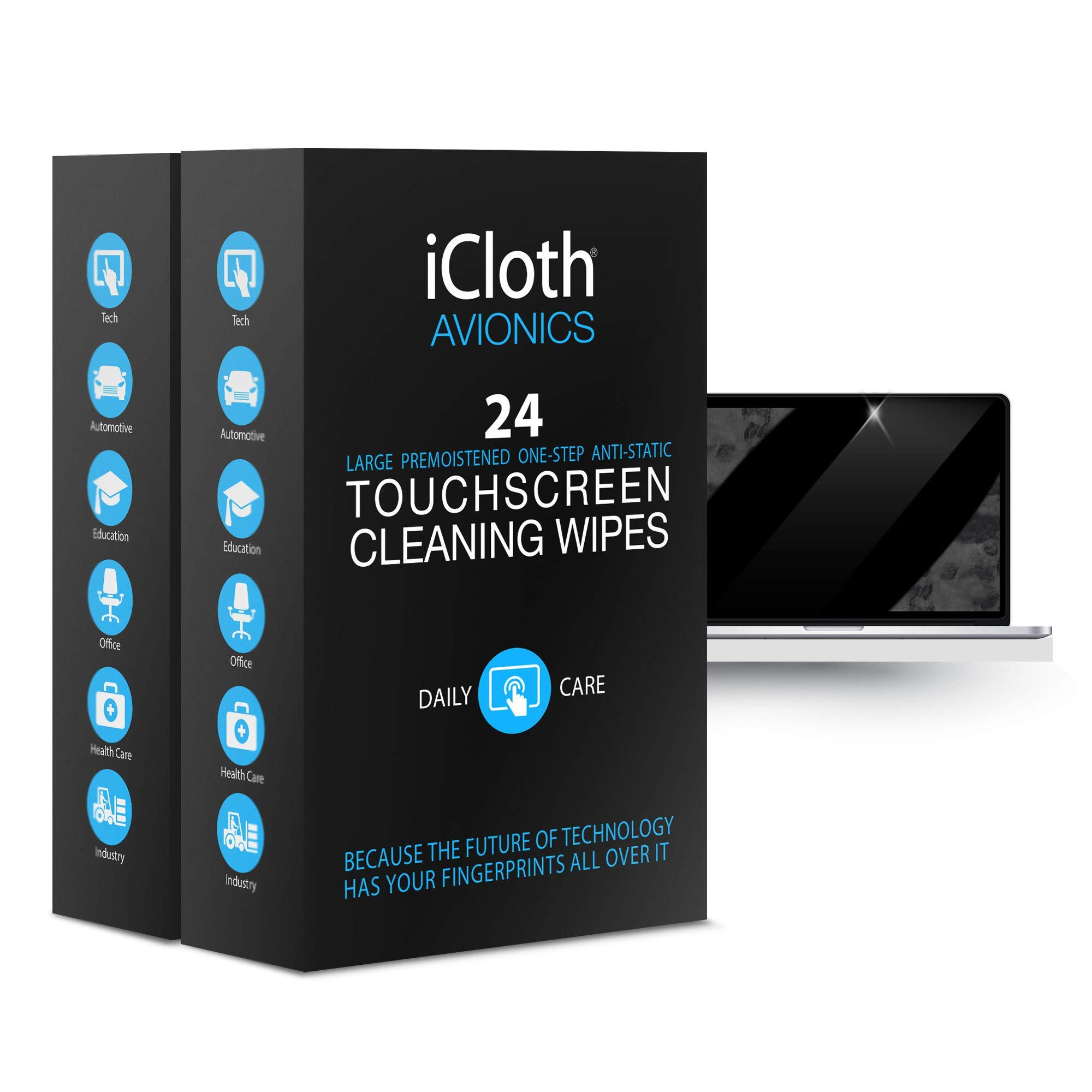 iCloth Large Screen Cleaning Wipes - Cleans and Protects a Computer Monitor, a Gaming PC a Touchscreen Desktop, a TV LED or LCD, Aviation and Automotive displays | iCA24x2 | 2 x 24 Wipe Box