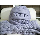 HomeModa Studio 100% Non-Mulesed Chunky Wool Yarn Big chunky Yarn Massive Yarn Extreme Arm Knitting Giant Chunky Knit Blankets Throws Grey White (250g, grey)