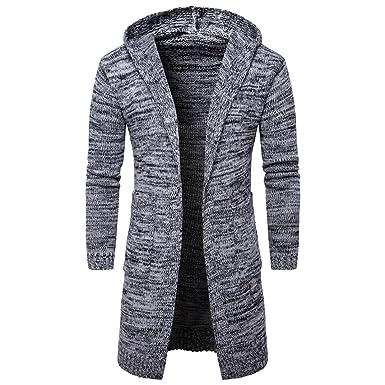 YunYoud Mode Herren Strickjacke Open Jacke Lang Cardigan Knit Mantel Strick  Jacke Hoodie Hoody Sweatshirt Sweatblazer
