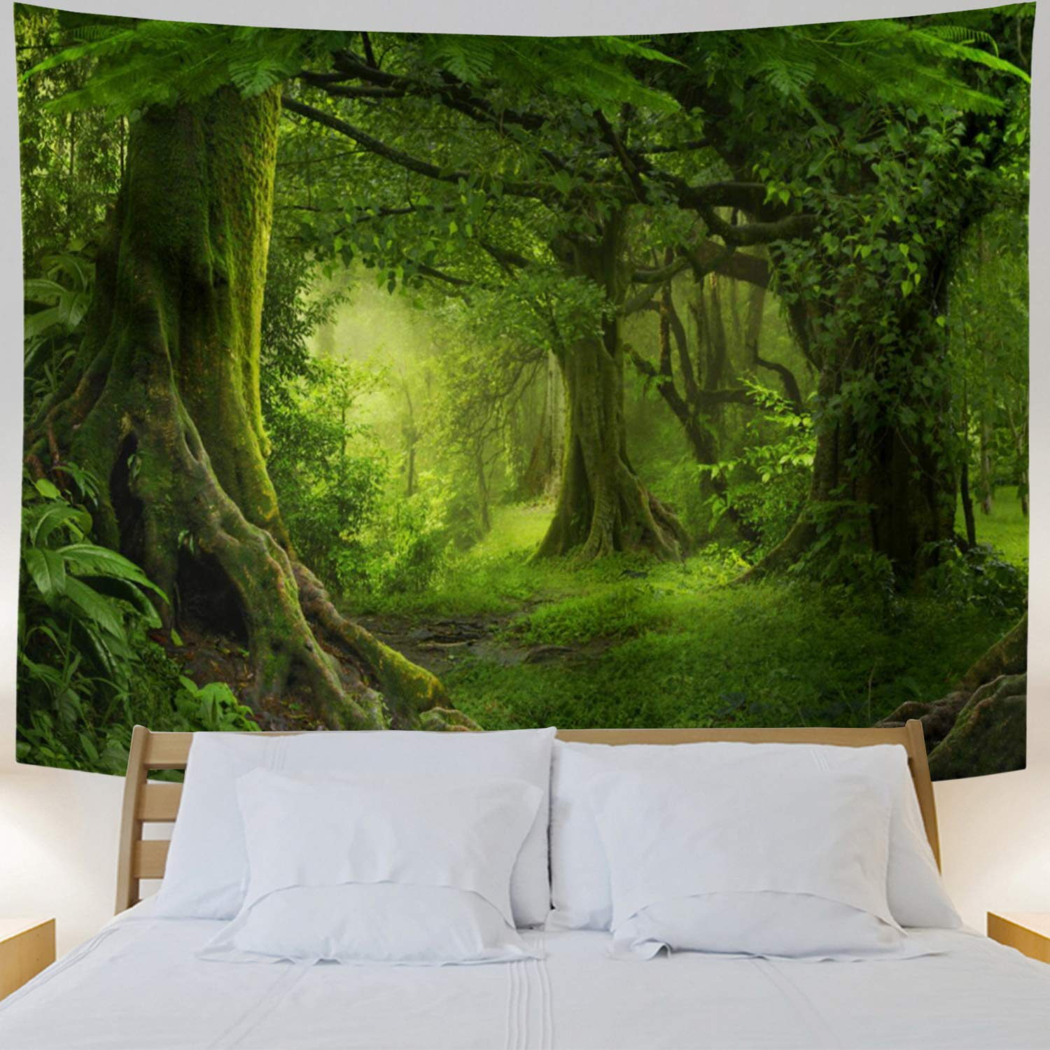 Lahasbja Virgin Forest Tapestry Green Tree in Misty Forest Tapestry Wall Hanging Nature Scenery Wall Tapestry Decor for Living Room Bedroom
