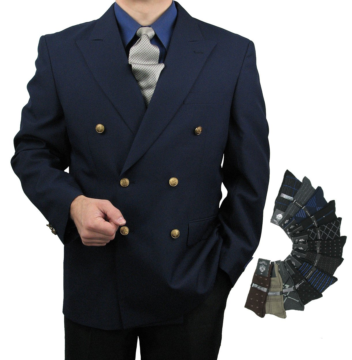 Triple Blessings Men's Classic Fit Double-Breasted Blazer Jacket Sports Coat w/One Pair Of Dress Socks - Navy 46R