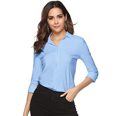 Abollria Womens Casual Work Blouse V Neck Button Down Shirt Top at Women's Clothing store