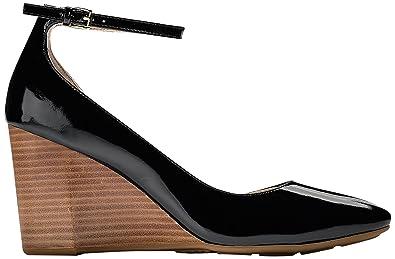 7a28d1ff93ca Cole Haan Women's Sadie Ankle Strap Wedge 85MM Platform, Black Patent, ...