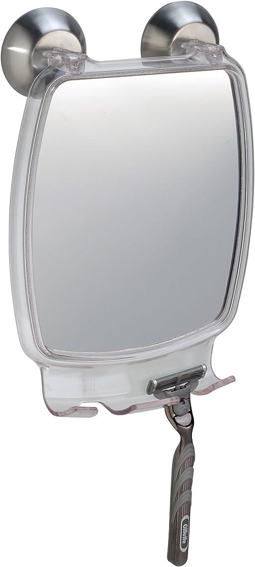 Fogless Suction Fog Away Bath Shower Shave Rectangular Mirror Power Lock Razor