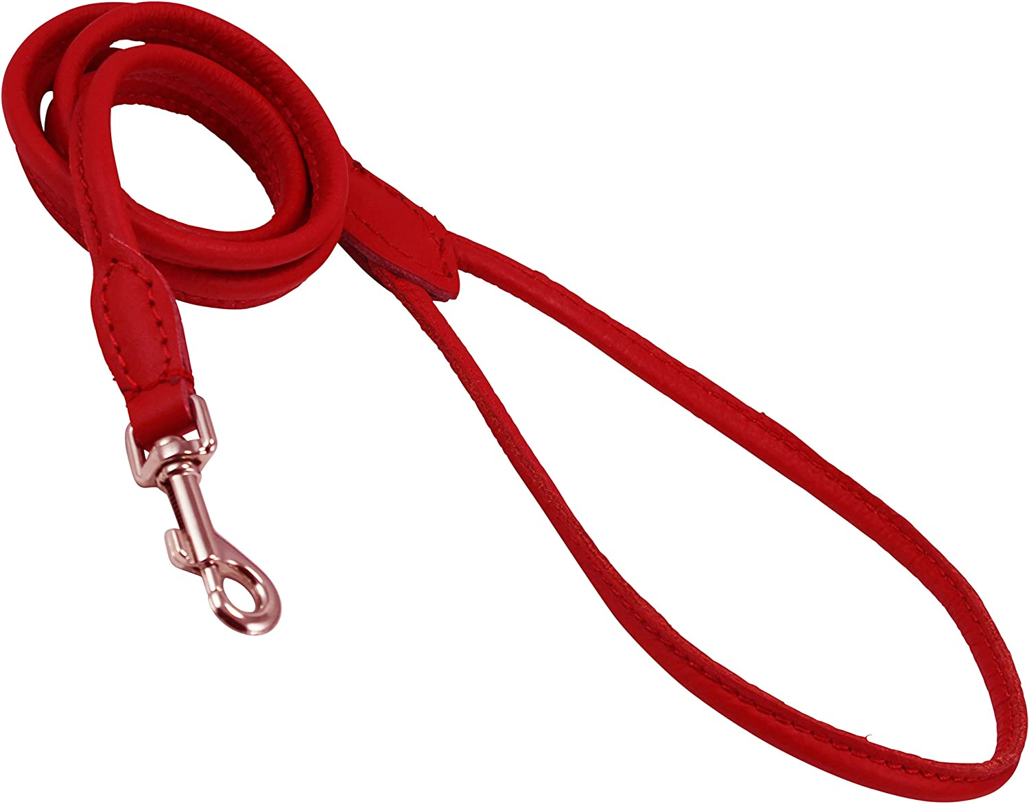 Dogs My Love 4ft Long Round Genuine Rolled Leather Dog Leash Red by Dogs My Love X-Small: 1//4 6mm