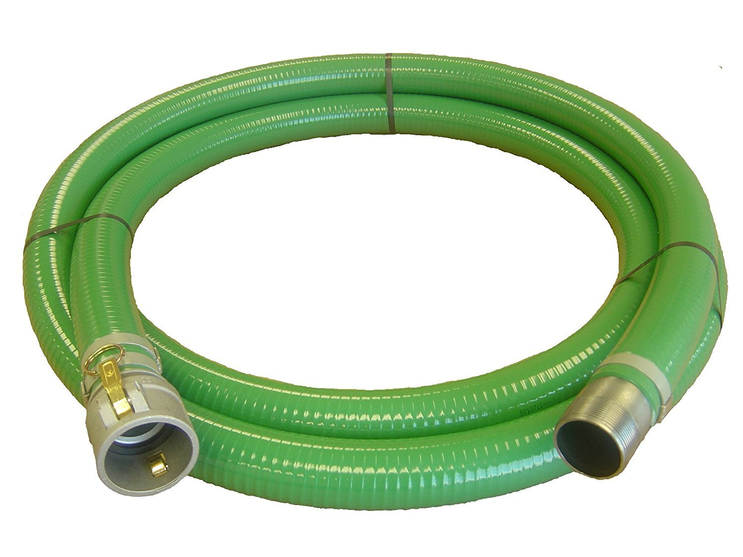 Abbott Rubber PVC Suction Hose Assembly, Green, 2'' Female Cam and Groove X Male NPT, 65 psi Max Pressure, 20' Length, 2'' ID