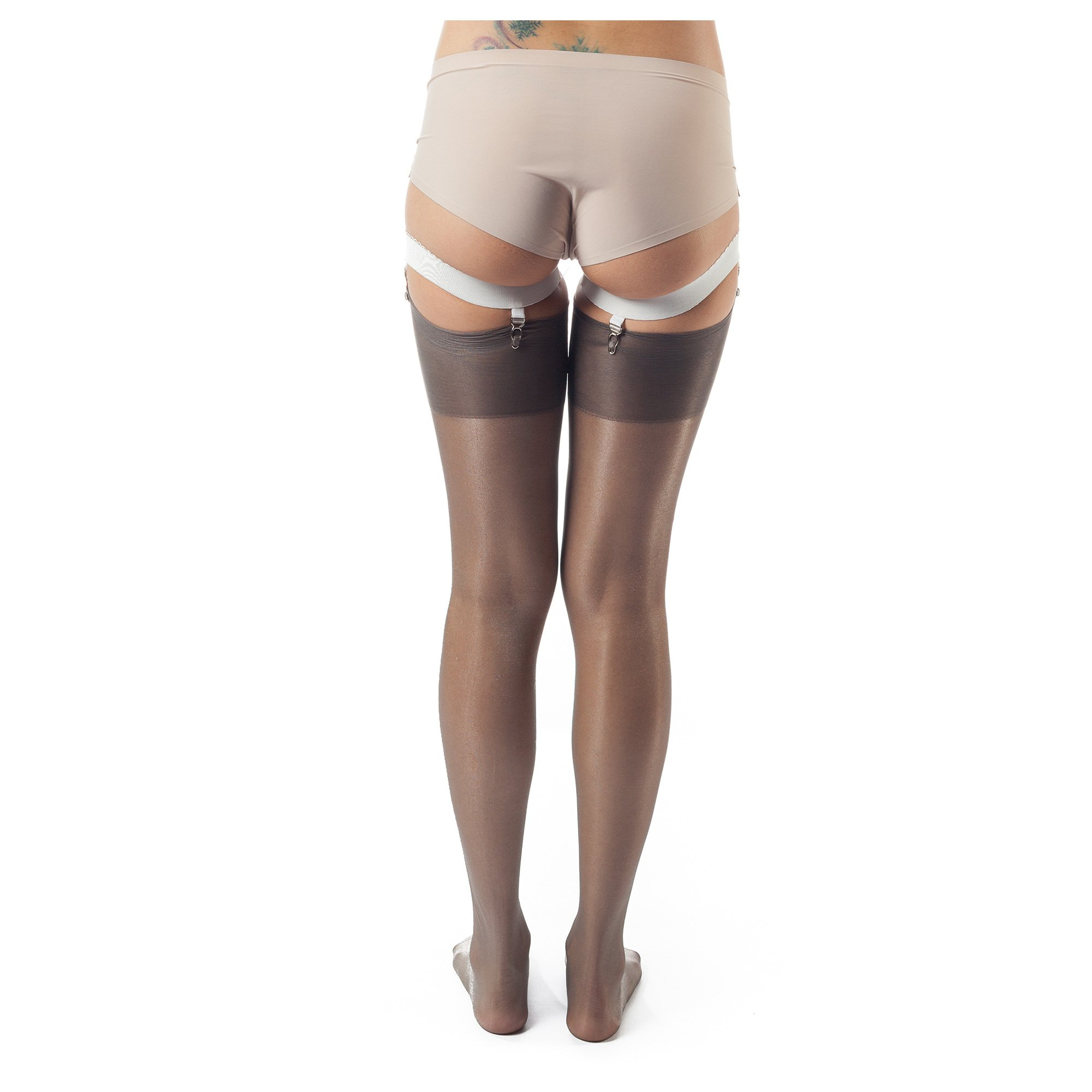 ElsaYX Women's Classic Pure Nylon Glossy Thigh High Stockings for use with Garter Belt Lingerie,3 Pairs-black/Beige/Grey,L (Height 5'2''-5'6'') by ElsaYX (Image #4)