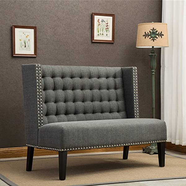 Tongli Modern Settee Banquette Bench Tufted Fabric Sofa Couch Chair 2-Seater loveseat with Nail Head Trim