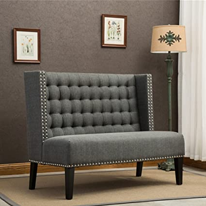 Tongli Modern Settee Banquette Bench Tufted Fabric Sofa Couch Chair  2 Seater Loveseat With Nail