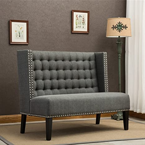 Tongli Modern Settee Banquette Bench Tufted Fabric Sofa Couch Chair  2-Seater Loveseat for Entryway Dinning Room