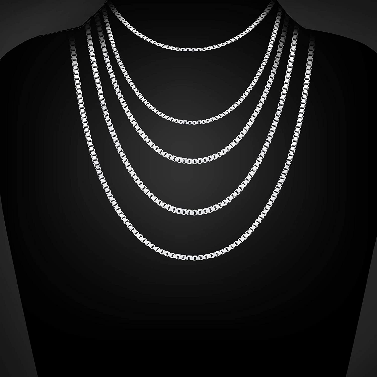 Adramata 925 Sterling Silver Chain Necklace for Mother 1MM Thin Rope/&Box Chain Necklace Fashion Mothers Day Gifts Available 16 IN-22IN