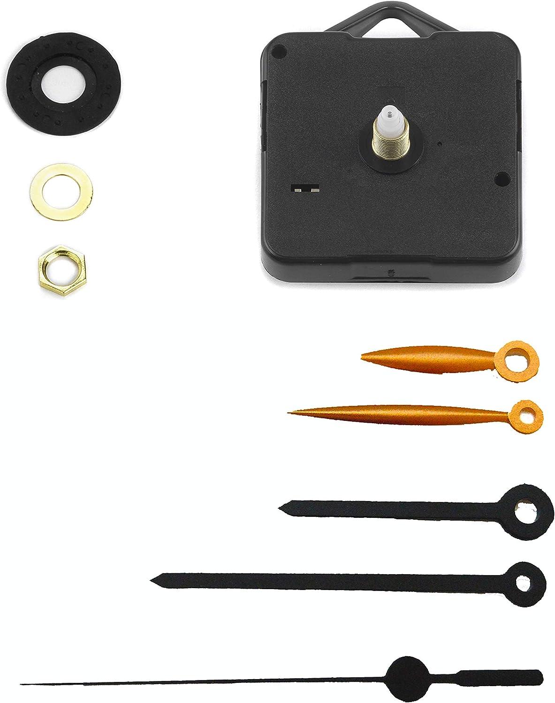 H canotto 16mm//Filettatura 10mm Clock-it Meccanismo Orologio Economico con Gancio plastica Silenzioso con Rotazione Continua 2 Set lancette plastica.