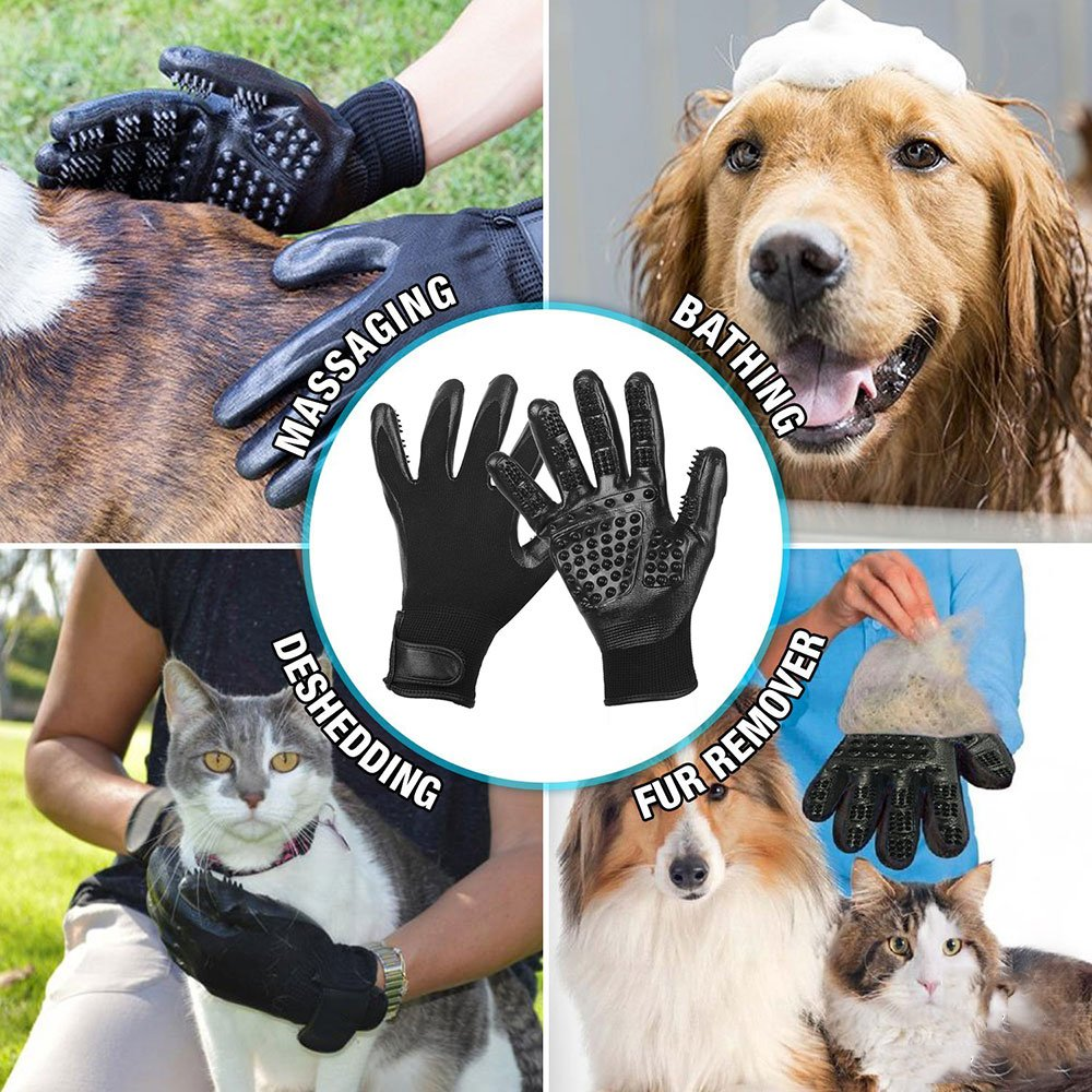 RoyalCare Pet Grooming Glove Gentle Deshedding Pet Brush Glove - Pet Hair Removal Mitt with Enhanced Five Finger Design for Long & Short Fur Dogs Cats Horses Rabbits - 1 Pair (Black) by RoyalCare (Image #5)