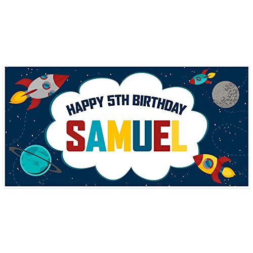 amazon com outer space rocket ship birthday banner personalized
