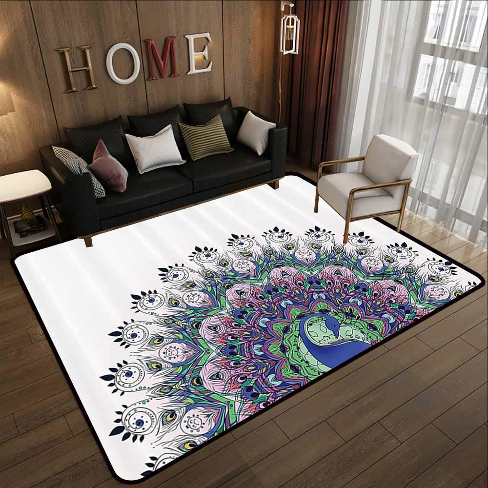 Pattern02 47 x 59 (W120cm x L150cm) Kids Rugs,Peacock Plume Decorations Collection,Macro Size Peafowl Feather Pattern,Green bluee Brown Olive 63 x 94  Slip-Resistant Washable Entrance Doormat
