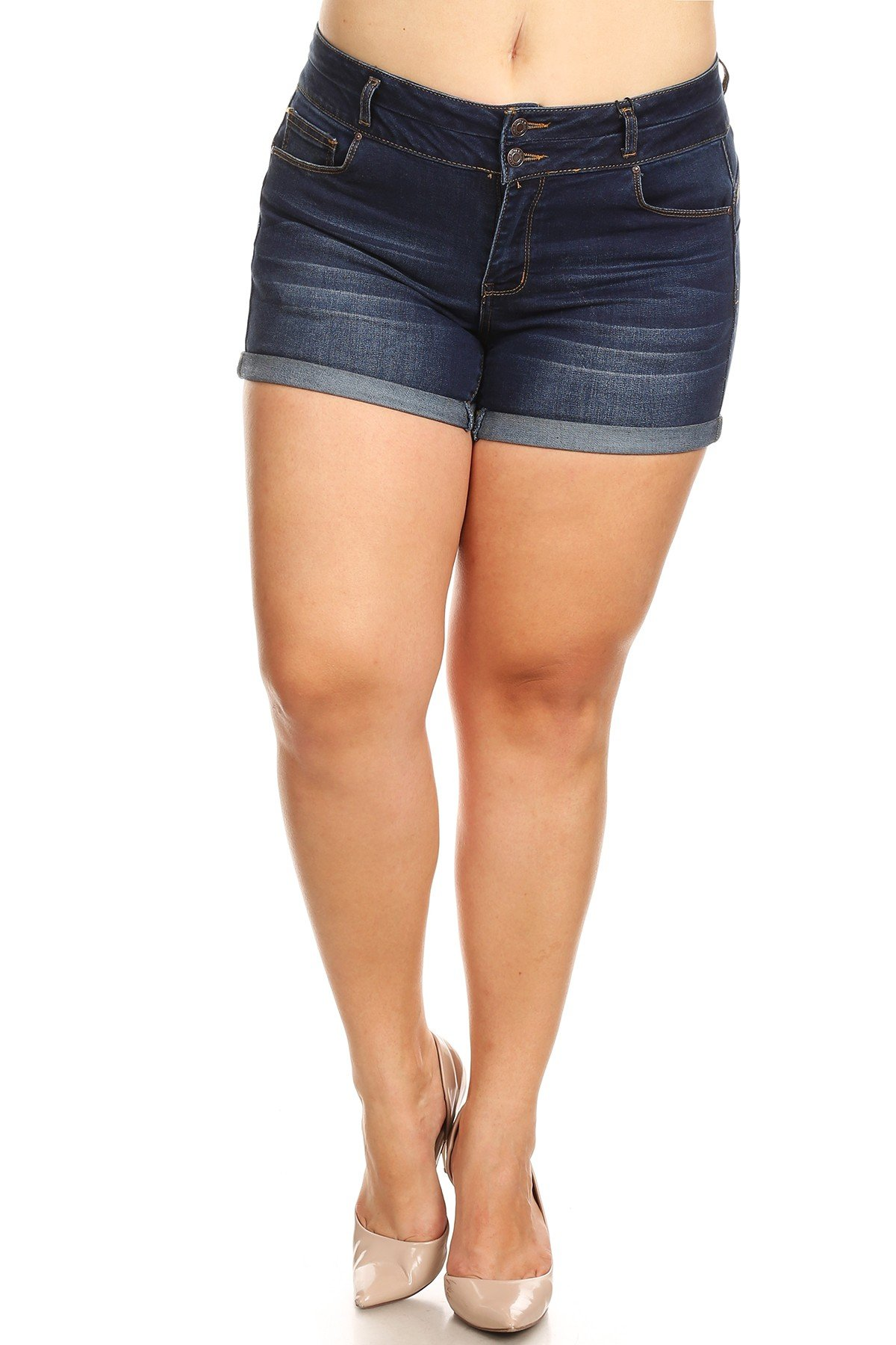 Women's Plus Size High Waist Denim Jean Shorts (1X, Dark Wash)