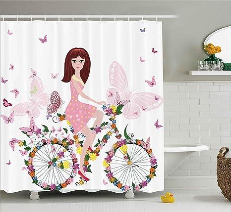 802e7613fb1e8 Amazon.com  Ambesonne Girls Room Shower Curtain by