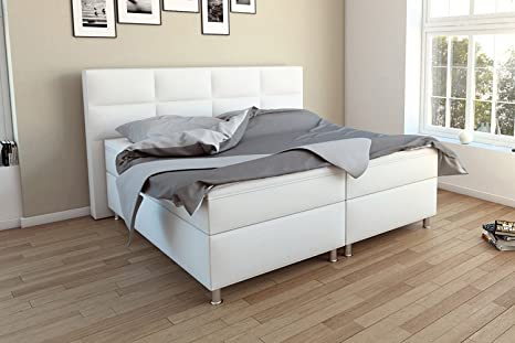 MSA Sam Cama boxspring Messina 200x200, Blanco, Base con resortes Bonnell, colchones con