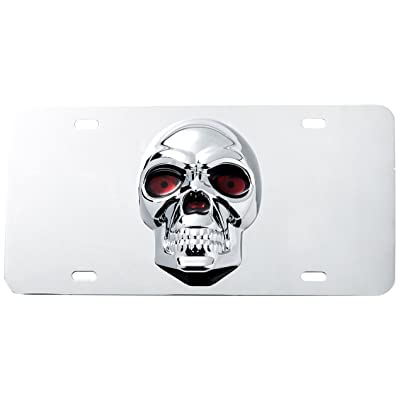 Pilot Automotive LP-205 Stainless Steel 3-D Skull License Plate (ABS Plastic Decal): Automotive